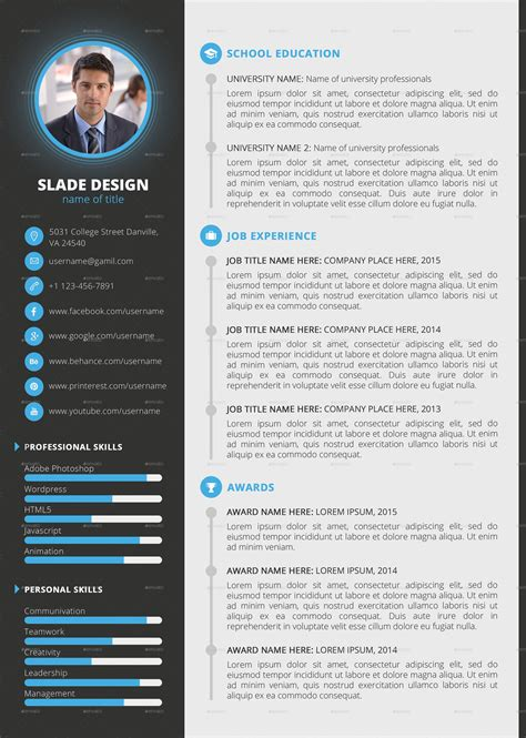 Cv Resume Psd Template And Mockup Professional Resume Template Psd Pdf