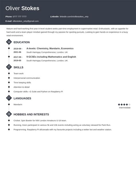 cv profile examples for 16 year olds