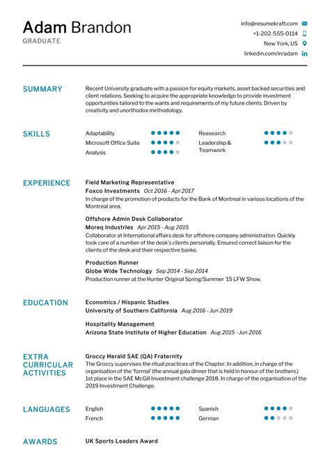 Cv Sample Ready To Fill Graduate Sample Cv Template And Guide Totaljobs