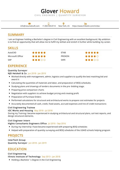 Cv Sample For Quantity Surveyor Resume For Babysitting Job