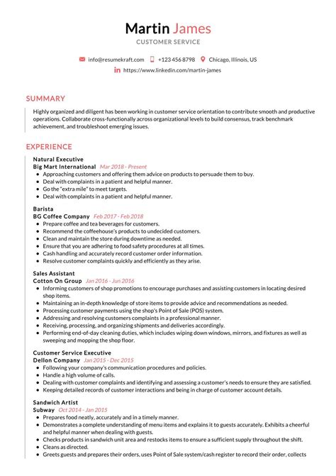 cv samples customer service experience customer service resume example - Customer Service Resume Template Free