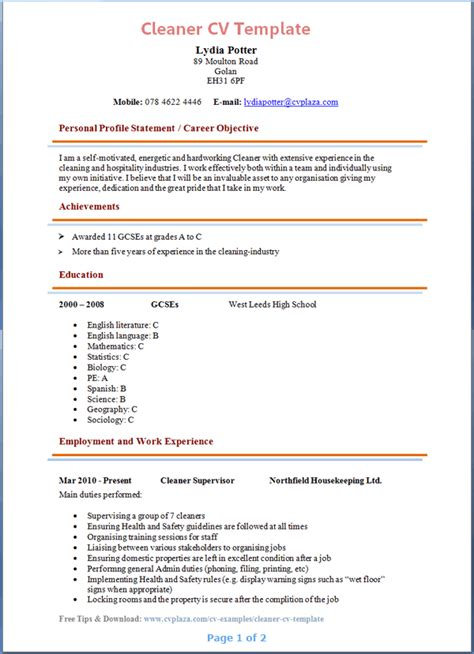 cleaner - Cleaner Resume Template