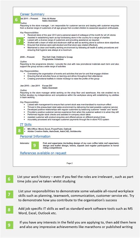 Cv Writing For School Leavers School Leaver Cv Example With Writing Guide And Cv Template