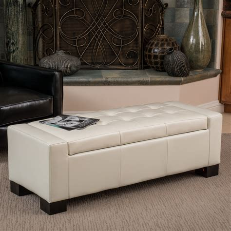 Daley Leather Storage Bench