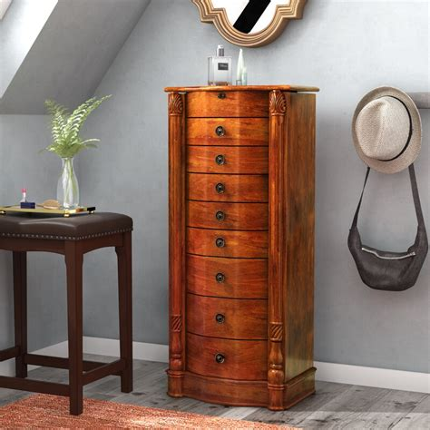 Dalston Free Standing Jewelry Armoire with Mirror