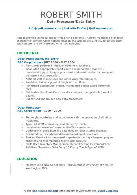 data entry processor resume sample data processor resume sample livecareer - Data Processor Resume