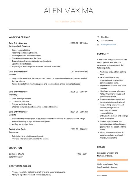 resume sample for data entry operator data entry operator cv sample data entry operator cv resume for data entry
