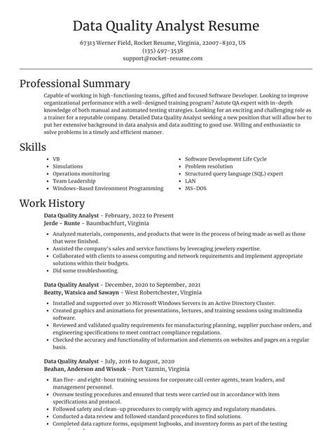 data quality analyst resumes