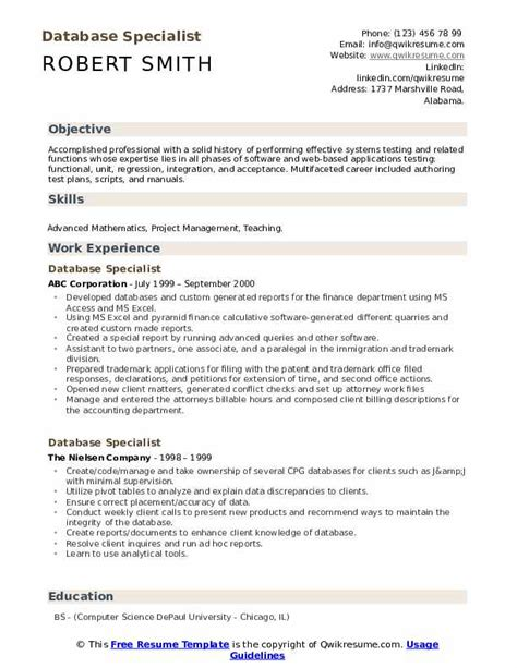 Database Specialist Resume Resume And Cover Letter Check List