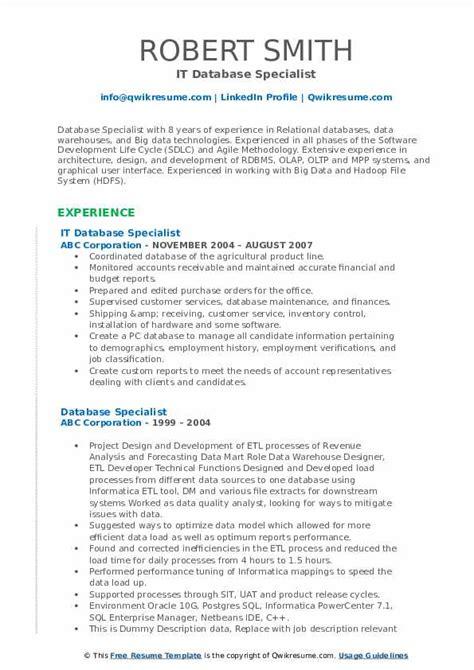 Database Specialist Resume Resume Templates Database Specialist My Perfect  Resume