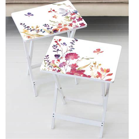 Debbra Watercolor Tray Table Set (Set of 2)