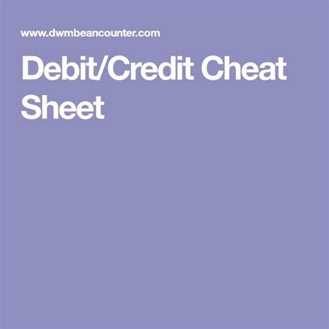 Credit Card Balance Sheet Debitcredit Cheat Sheet Dwmbeancounter