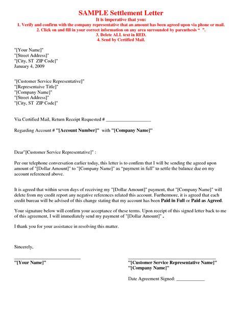 bill settlement letter format debt settlement agreement letter agreement letters - Sample Settlement Letter