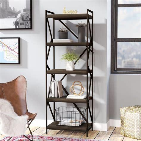 Derwood Metal Distressed Etagere Bookcase