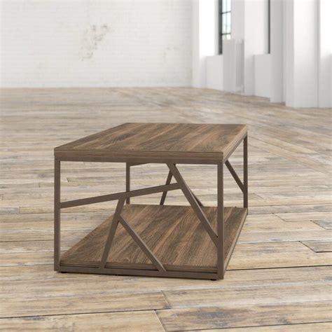 Derwood Metal Distressed Wood Coffee Table