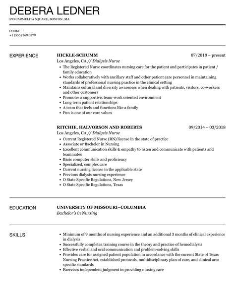 dialysis nurse resume sample