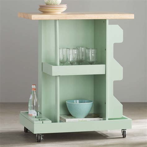 Diaz Kitchen Cart with Wood Top