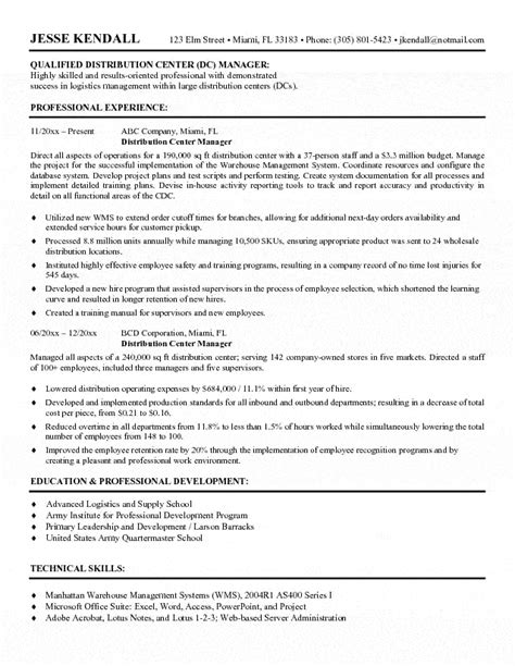 Distribution centre manager resume