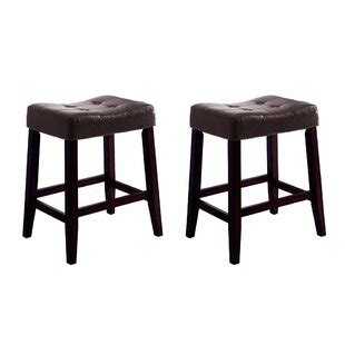 Divernon Stylish Wooden Saddle Chair (Set of 2)