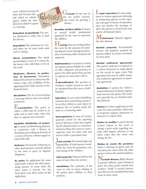 Court Appointed Lawyer For Divorce Divorce Resources Glossary Of Legal Terms