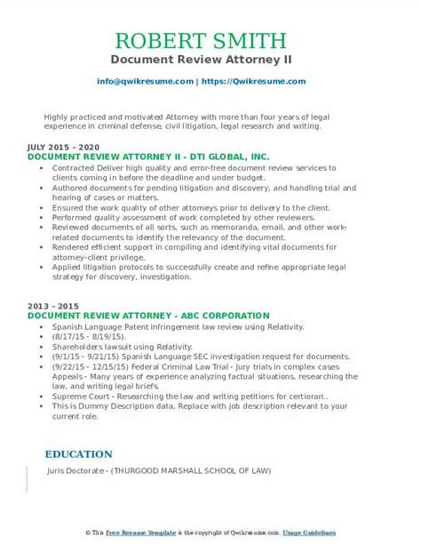 doc review resume example financial analyst job description