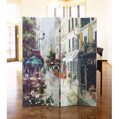 Dolan 71 x 51 Double Sided Painted Canvas 4 Panel Room Divider