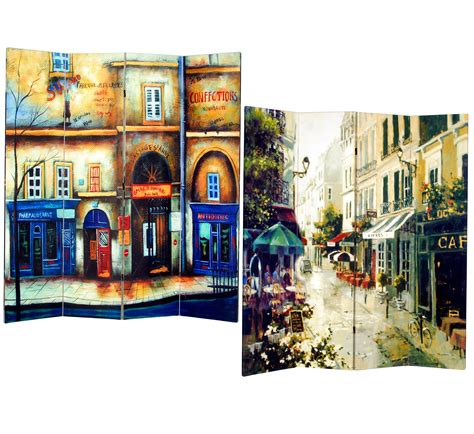 Donellan Double Sided Painted Canvas 4 Panel Room Divider