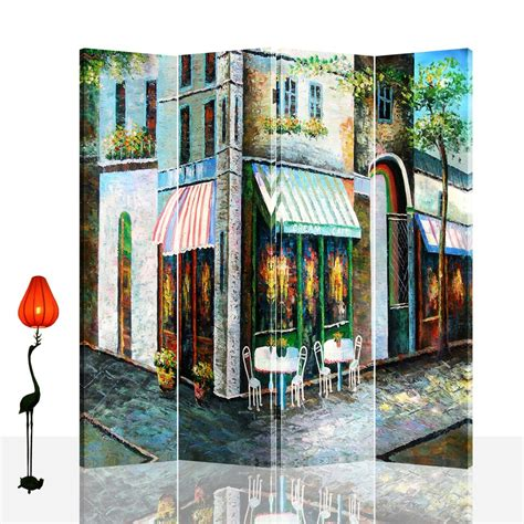 Dothan 71 x 71 Double Sided Canvas Painting 4 Panel Room Divider