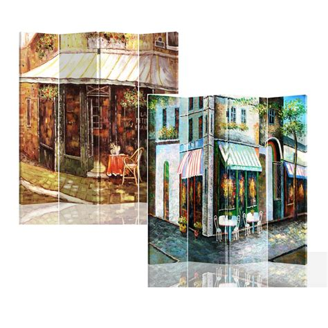 Double Sided Painted Canvas 4 Panel Room Divider