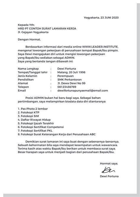 Contoh Surat Lamaran Kerja Download Contoh Contoh Surat Lamaran Kerja