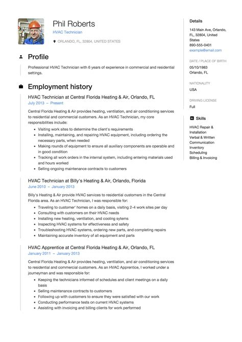 download hvac resume template experienced resume format template 8 free word pdf