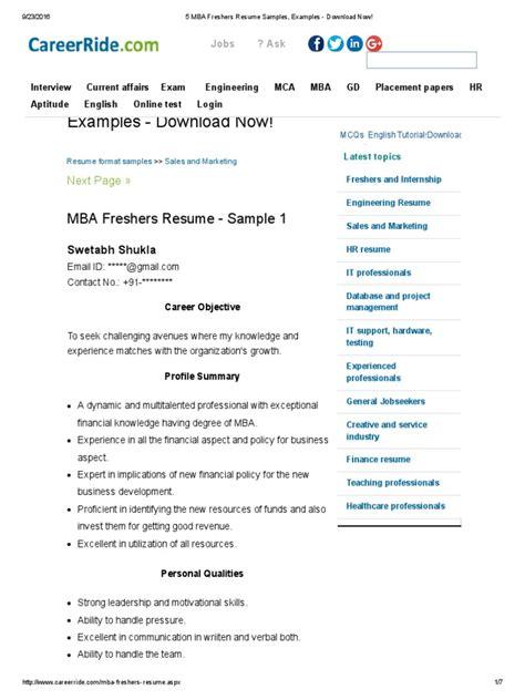 download sample resume mba freshers 5 mba freshers resume samples examples download now - Sample Resume For Mba Fresher