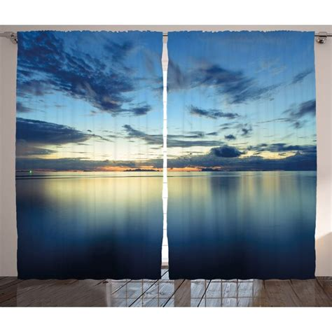 Dramatic Dusk Sunset Decor Graphic Print Room Darkening Rod Pocket Curtain Panels (Set of 2 by