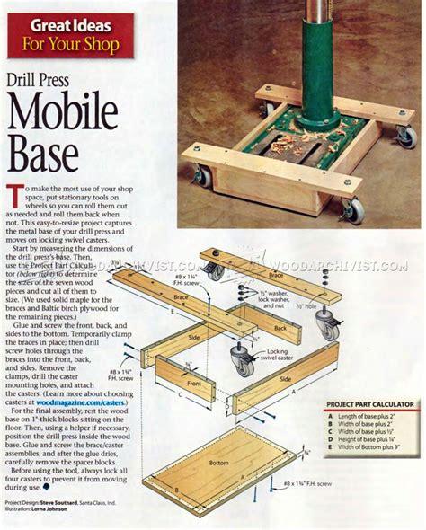 Drill Press Mobile Base Plans