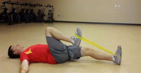 eccentric load hip flexor exercises with resistance cords