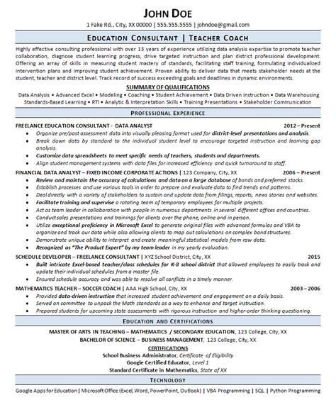 education consultant resume