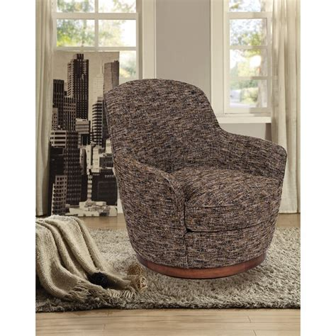 Eitzen Heathered Soft Tweed Swivel Barrel Chair
