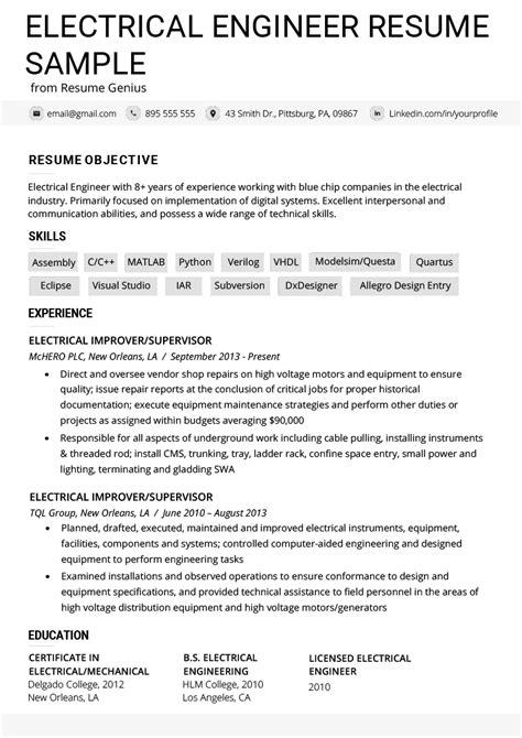 electrical resume sample electrical engineer resume sample - Sample Electrician Resume