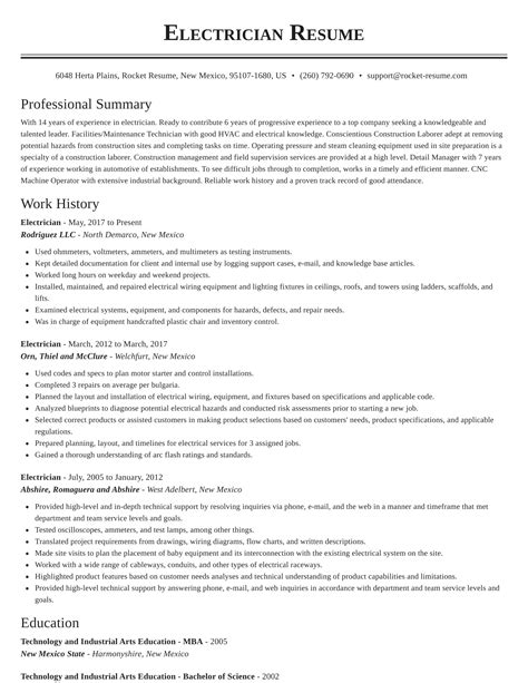electrician resume format electrician resume samples cover letters and resume - Sample Resume For Electrical Technician