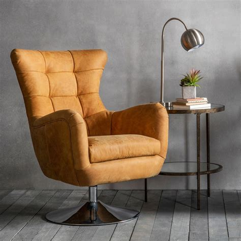 Eliora Leather Modern Swivel Club Chai by