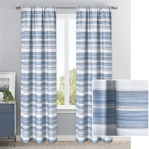 Elle Striped Blackout Single Curtain Pane by