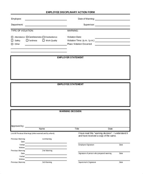Employee Discipline Form Template Free  BesikEightyCo