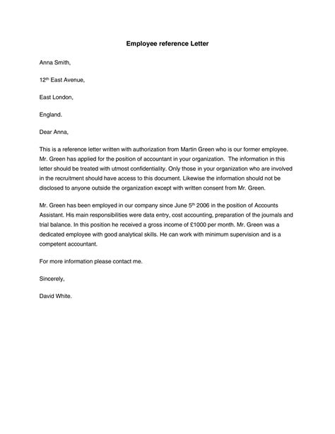 reference letter for former employee template employee reference letters download templates biztree