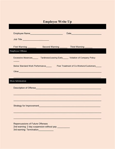 Employee Write Up Tardiness Template 10 Employee Write Up Form Templates Free Printables