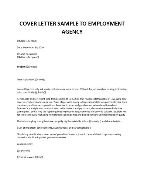 Cover letter to a job placement agency