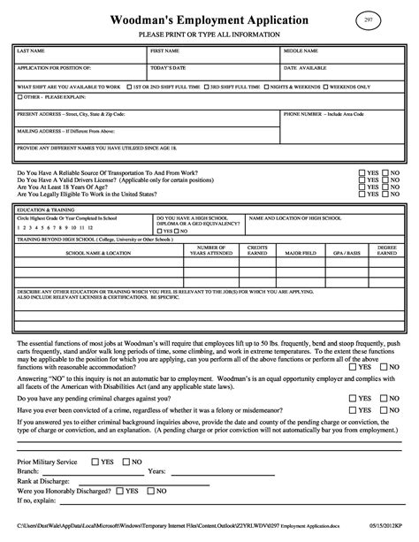 Employment Application Form Word Template Employment Application Template 21 Examples In Pdf