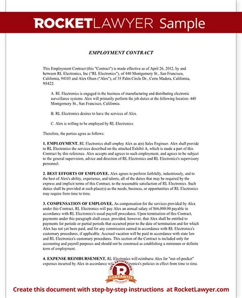 Corporate Lawyer Typical Day Employment Contract Agreement Template Rocket Lawyer