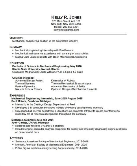 engineering internship resume mechanical engineering resume sample aerospace engineering resume engineering internship resume format 3 student - Navy Aerospace Engineer Sample Resume