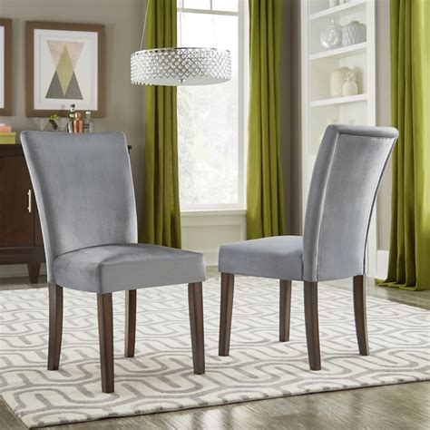 Ennis Upholstered Parsons Chair in Blue (Set of 2)