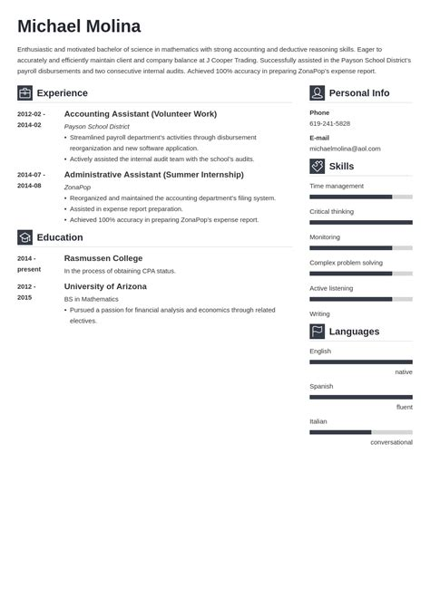 resume objective for internship student resume resume template accounting student resume update college student resume template - Professional Accounting Resume Templates